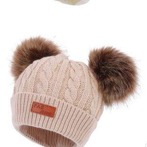 Other - Child beanie hat with pom poms